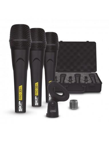 Set 3 microfono vocales PRO33K SKP AUDIO
