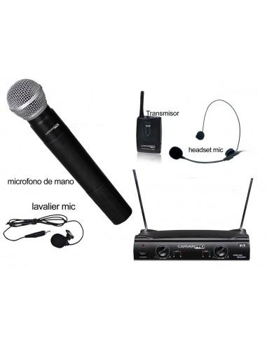 Microfono Inalambrico Mano + Cintillo o Solapa MA1010 Carver Pro